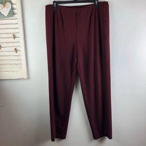 J Jill Slim Leg Ponte Pants Size Large Maroon